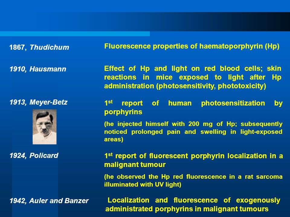 1867, Thudichum 1910, Hausmann 1913, Meyer-Betz 1924, Policard 1942, Auler and Banzer Fluorescence properties of haematoporphyrin (Hp) Effect of Hp an
