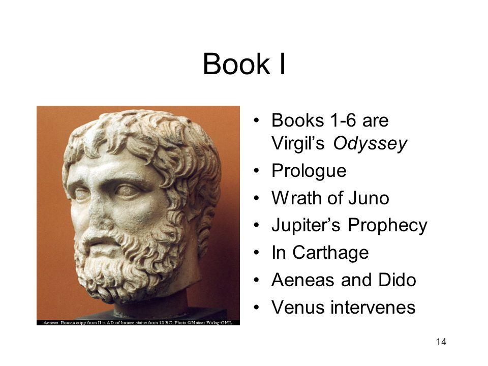 14 Book I Books 1-6 are Virgil's Odyssey Prologue Wrath of Juno Jupiter's Prophecy In Carthage Aeneas and Dido Venus intervenes