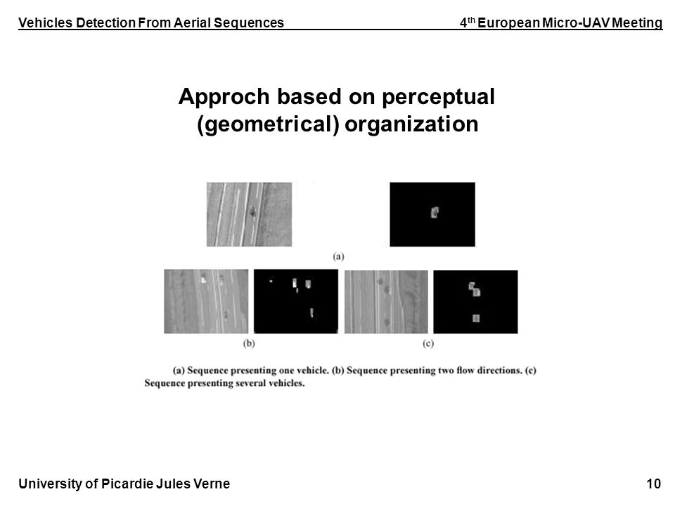 Vehicles Detection From Aerial Sequences 4 th European Micro-UAV Meeting University of Picardie Jules Verne 10 Approch based on perceptual (geometrical) organization