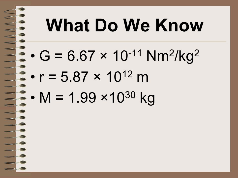 What Do We Know G = 6.67 × 10 -11 Nm 2 /kg 2 r = 5.87 × 10 12 m M = 1.99 ×10 30 kg
