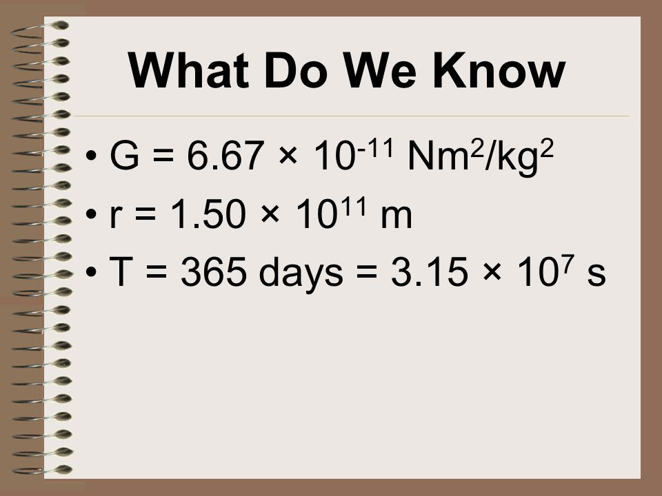 What Do We Know G = 6.67 × 10 -11 Nm 2 /kg 2 r = 1.50 × 10 11 m T = 365 days = 3.15 × 10 7 s