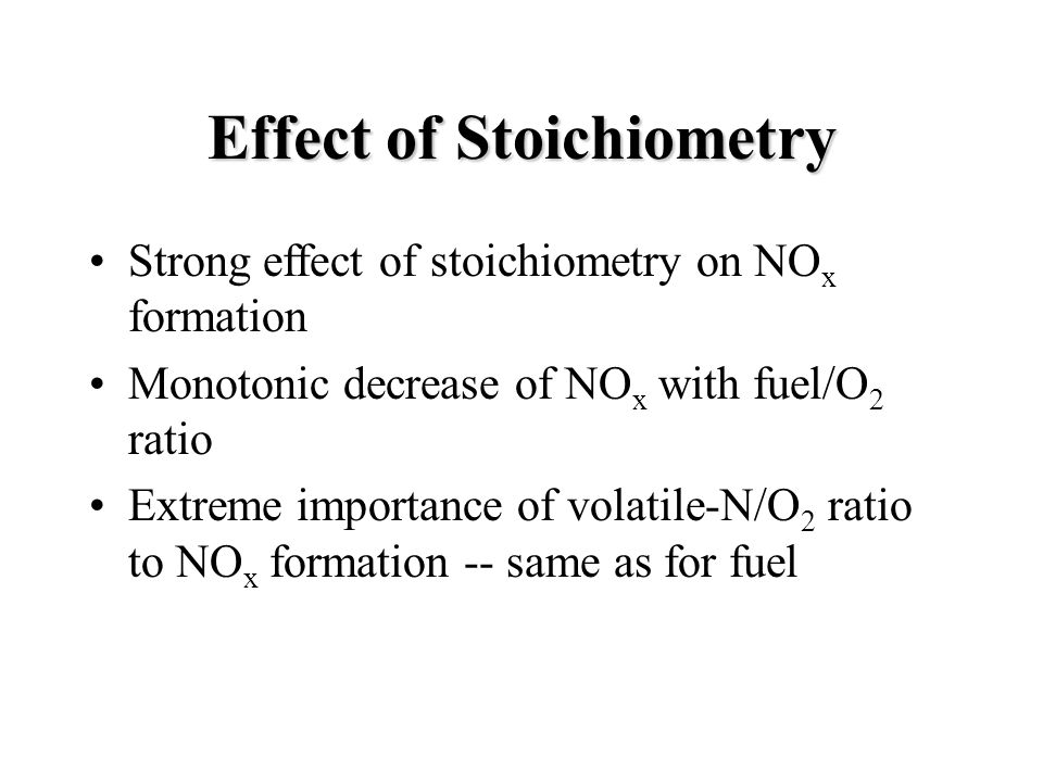 Effect of Stoichiometry Strong effect of stoichiometry on NO x formation Monotonic decrease of NO x with fuel/O 2 ratio Extreme importance of volatile-N/O 2 ratio to NO x formation -- same as for fuel