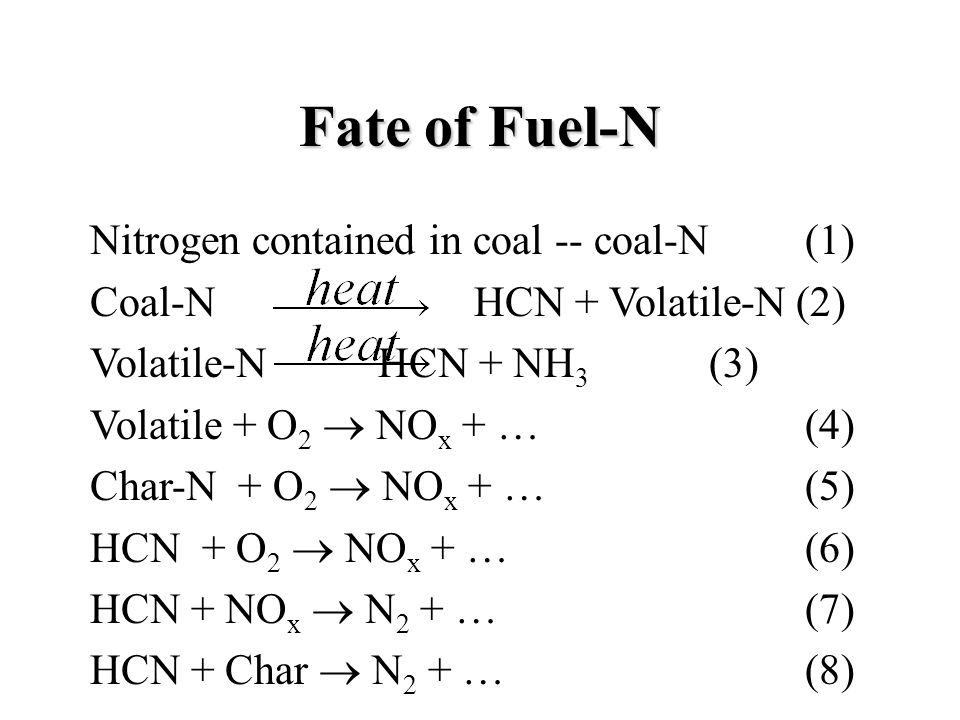 Fate of Fuel-N Nitrogen contained in coal -- coal-N (1) Coal-N HCN + Volatile-N (2) Volatile-N HCN + NH 3 (3) Volatile + O 2  NO x + … (4) Char-N + O 2  NO x + … (5) HCN + O 2  NO x + … (6) HCN + NO x  N 2 + … (7) HCN + Char  N 2 + … (8)