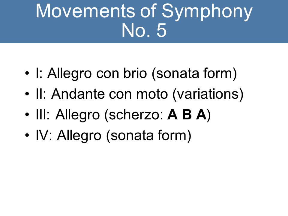 Movements of Symphony No. 5 I: Allegro con brio (sonata form) II: Andante con moto (variations) III: Allegro (scherzo: A B A) IV: Allegro (sonata form
