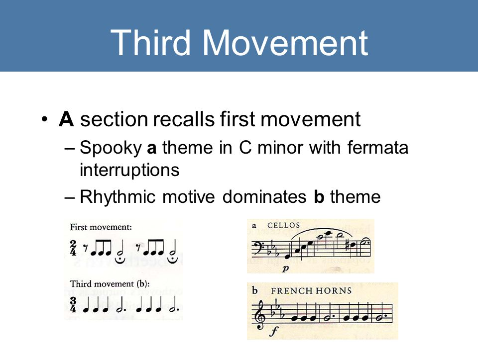Third Movement A section recalls first movement –Spooky a theme in C minor with fermata interruptions –Rhythmic motive dominates b theme