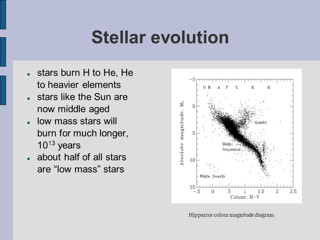 Stellar evolution stars burn H to He, He to heavier elements stars like the Sun are now middle aged low mass stars will burn for much longer, 10 13 ye