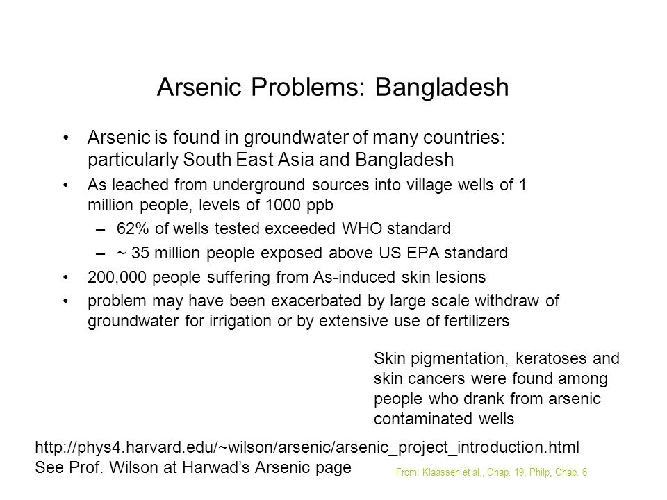 Arsenic Problems: Bangladesh Arsenic is found in groundwater of many countries: particularly South East Asia and Bangladesh As leached from undergroun