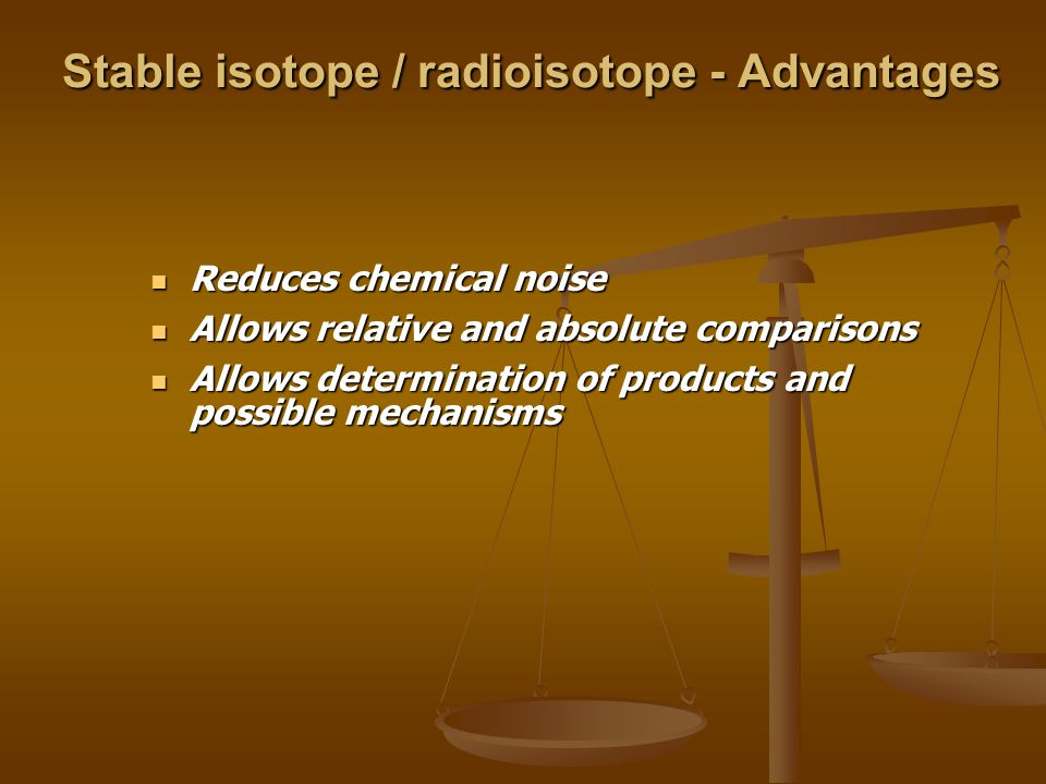 Stable isotope / radioisotope - Advantages Reduces chemical noise Reduces chemical noise Allows relative and absolute comparisons Allows relative and absolute comparisons Allows determination of products and possible mechanisms Allows determination of products and possible mechanisms