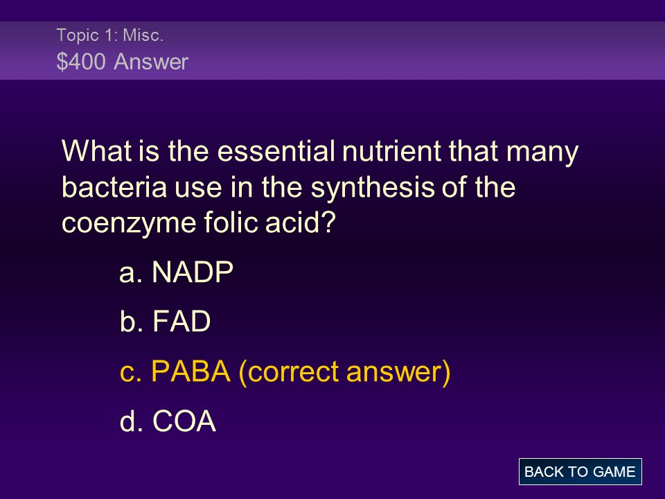 Topic 5: Anabolism $400 Question The ATP produced during photosynthesis is primarily used to synthesize.