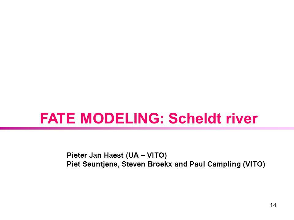 14 FATE MODELING: Scheldt river Pieter Jan Haest (UA – VITO) Piet Seuntjens, Steven Broekx and Paul Campling (VITO)