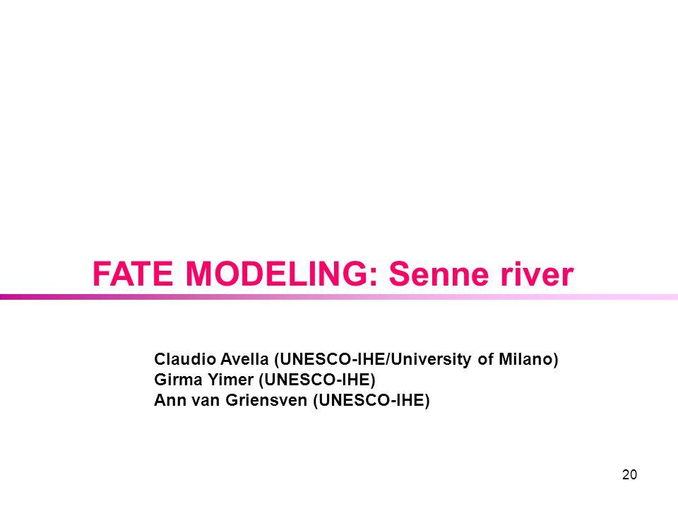 20 FATE MODELING: Senne river Claudio Avella (UNESCO-IHE/University of Milano) Girma Yimer (UNESCO-IHE) Ann van Griensven (UNESCO-IHE)