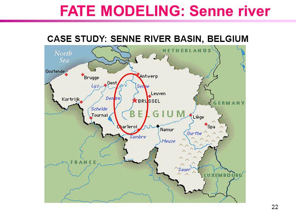 22 CASE STUDY: SENNE RIVER BASIN, BELGIUM FATE MODELING: Senne river