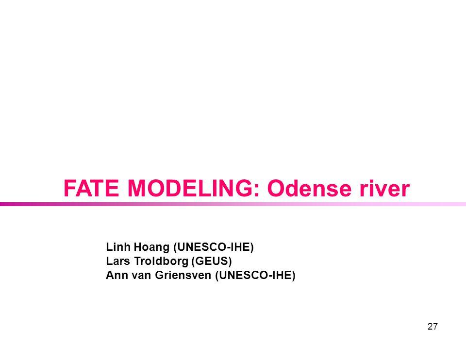 27 FATE MODELING: Odense river Linh Hoang (UNESCO-IHE) Lars Troldborg (GEUS) Ann van Griensven (UNESCO-IHE)