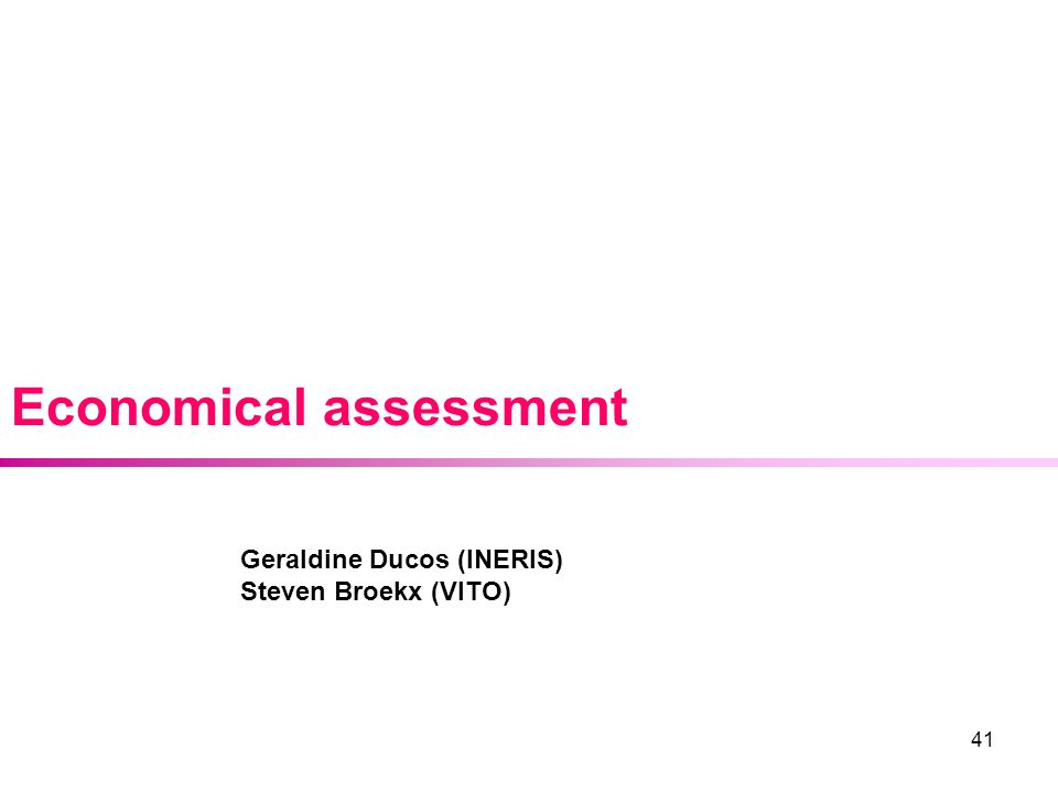 41 Economical assessment Geraldine Ducos (INERIS) Steven Broekx (VITO)