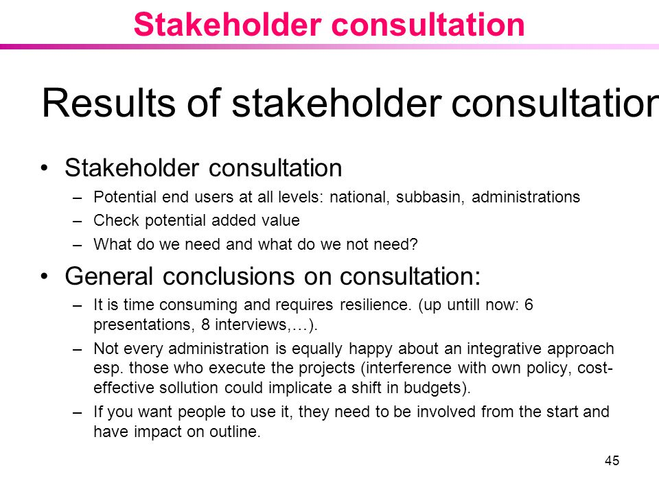 45 Results of stakeholder consultation Stakeholder consultation –Potential end users at all levels: national, subbasin, administrations –Check potential added value –What do we need and what do we not need.