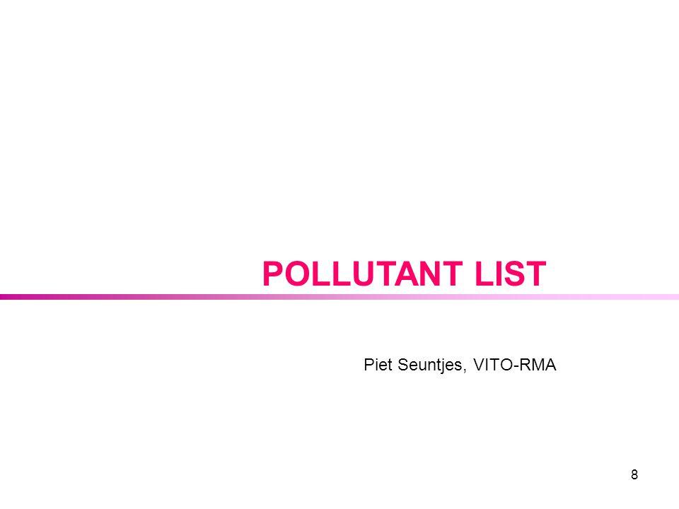 8 POLLUTANT LIST Piet Seuntjes, VITO-RMA