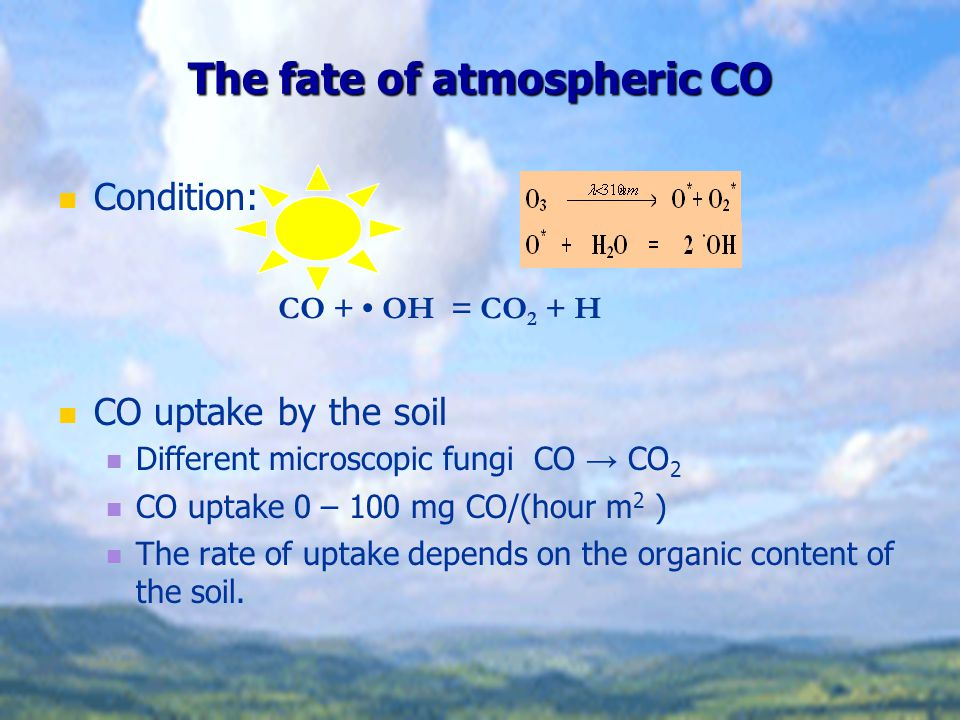 The fate of atmospheric CO Condition: CO uptake by the soil Different microscopic fungi CO → CO 2 CO uptake 0 – 100 mg CO/(hour m 2 ) The rate of uptake depends on the organic content of the soil.