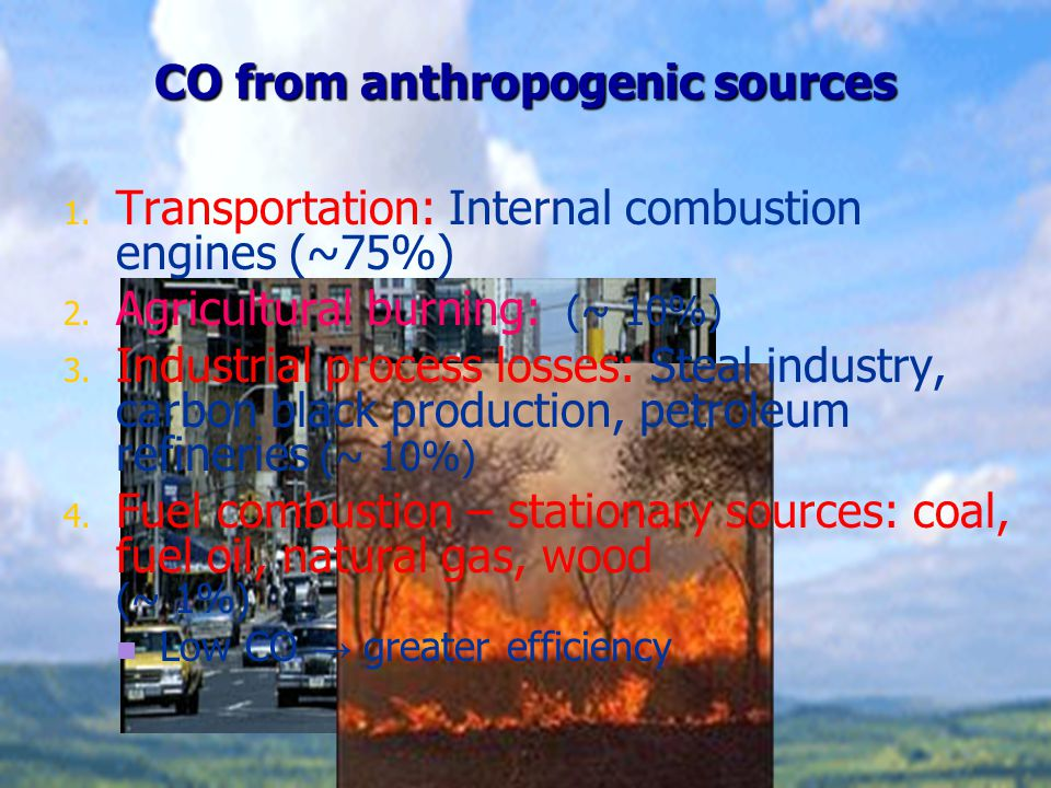 Chemistry of the CO formation The formation of anthropogenic CO is generally the result of the following chemical processes: 1.