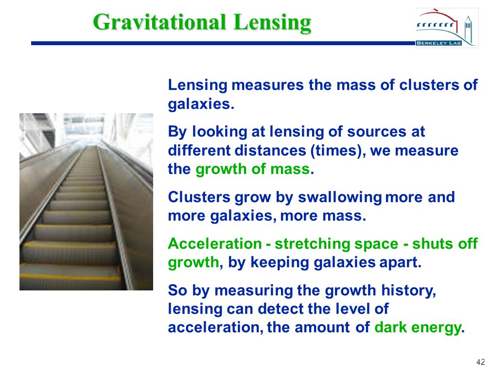 42 Gravitational Lensing Lensing measures the mass of clusters of galaxies. By looking at lensing of sources at different distances (times), we measur