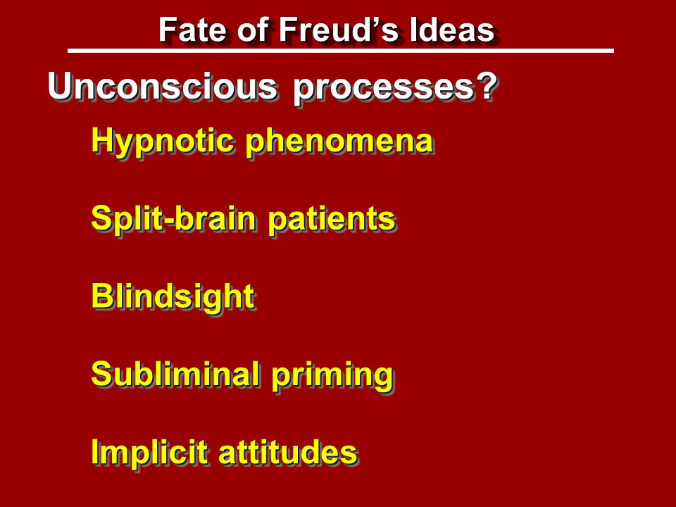 Fate of Freud's ideas: Unconscious processes Unconscious processes.