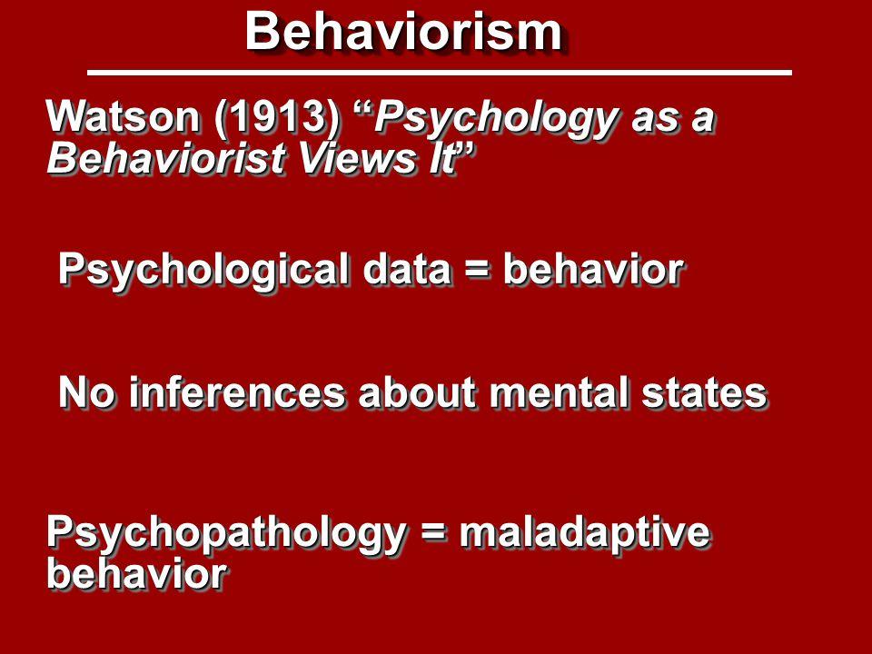Cognitivism Methodological behaviorism + cognitive inferences Psychopathology = disordered thinking and reasoning CognitivismCognitivism Cognitive-Behavioral Therapy (CBT)