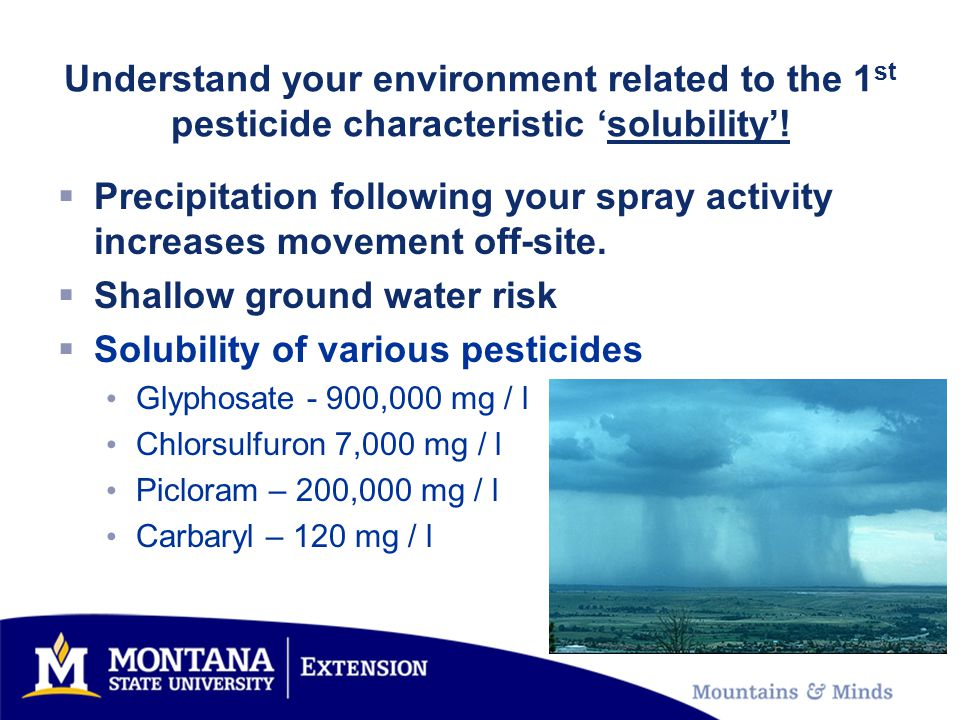 Understand your environment related to the 1 st pesticide characteristic 'solubility'!  Precipitation following your spray activity increases movemen
