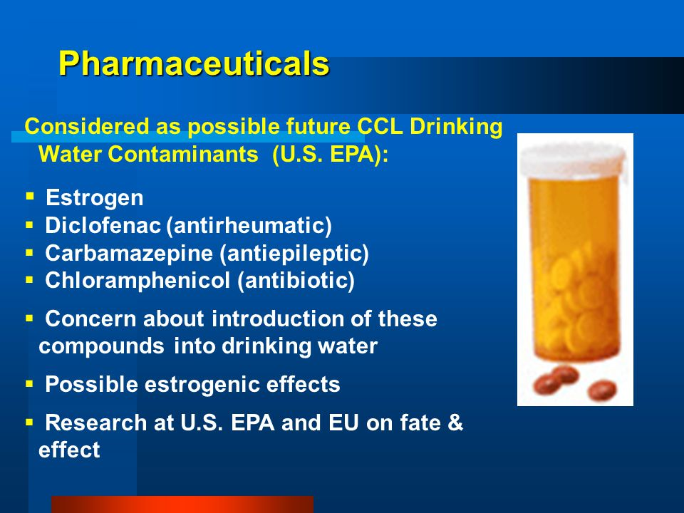 Pharmaceuticals Considered as possible future CCL Drinking Water Contaminants (U.S.