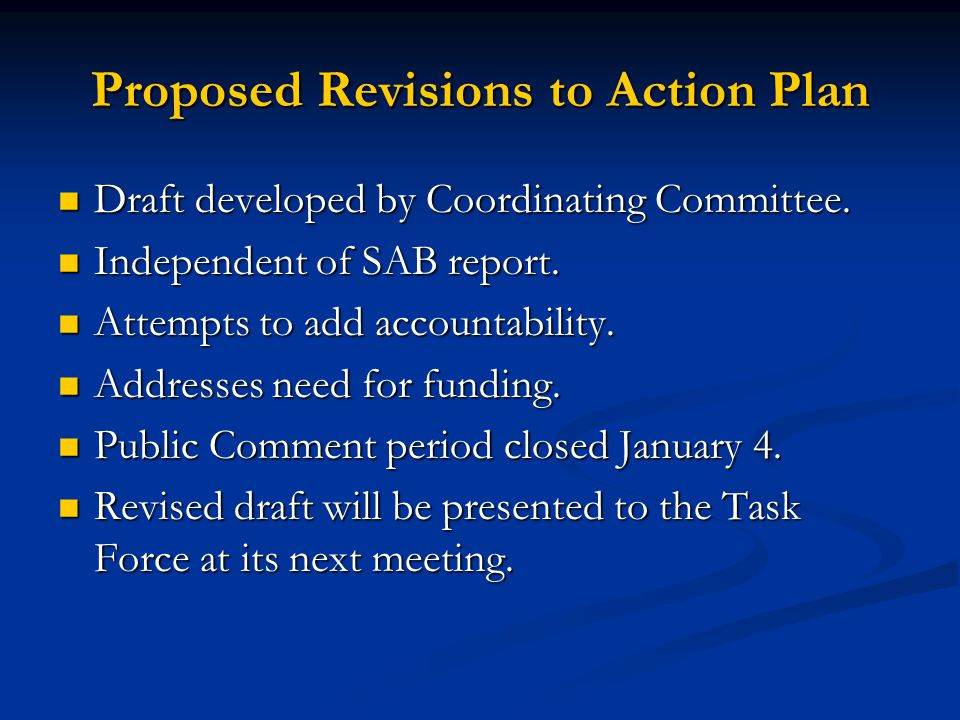 Proposed Revisions to Action Plan Draft developed by Coordinating Committee.