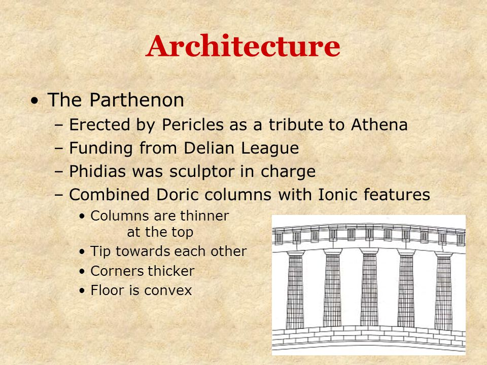 Architecture The Parthenon –Erected by Pericles as a tribute to Athena –Funding from Delian League –Phidias was sculptor in charge –Combined Doric col