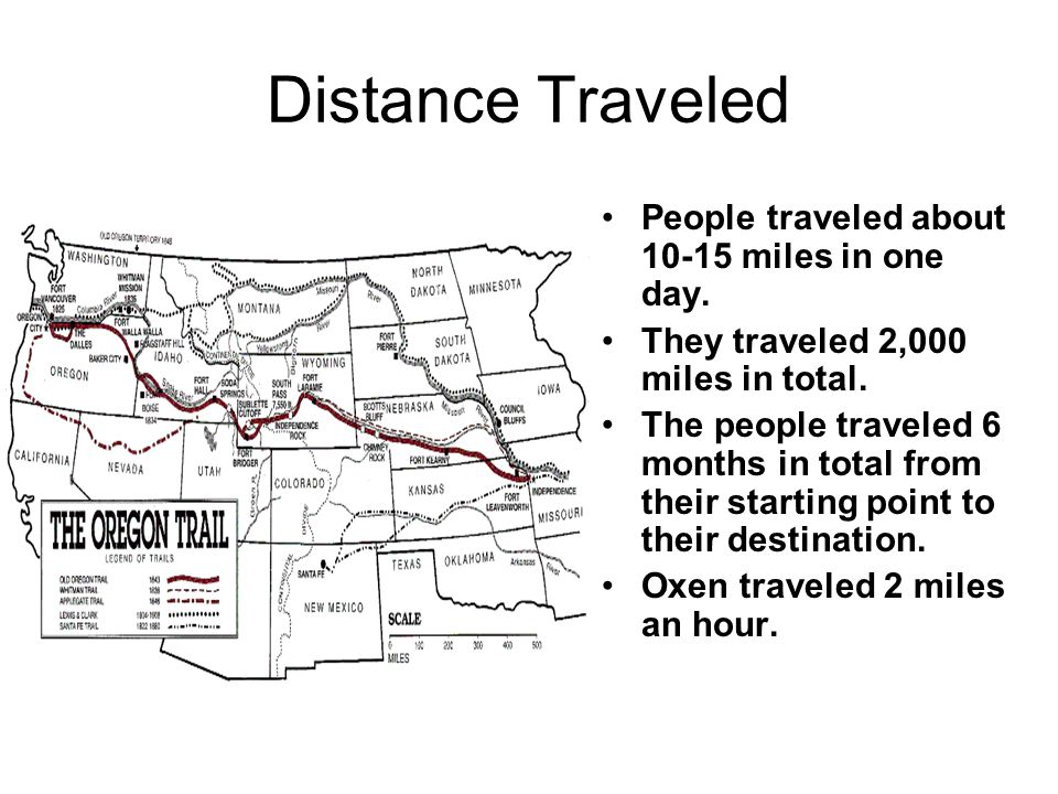 Distance Traveled People traveled about 10-15 miles in one day. They traveled 2,000 miles in total. The people traveled 6 months in total from their s