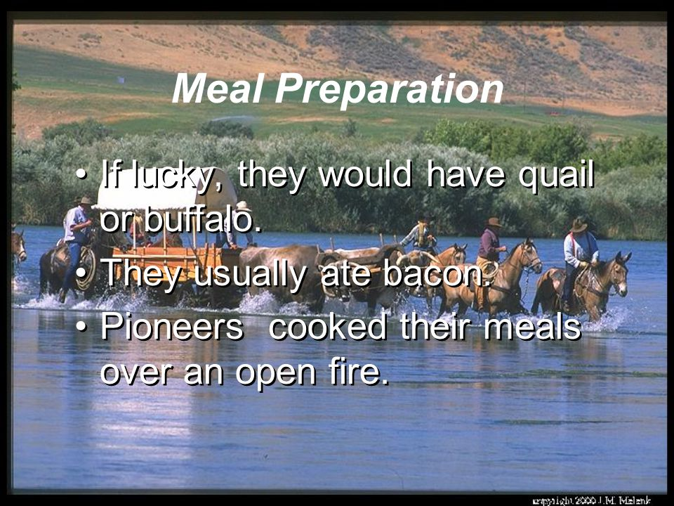 Meal Preparation If lucky, they would have quail or buffalo.
