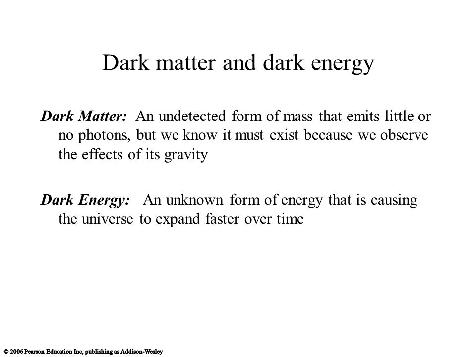 Dark Matter: An undetected form of mass that emits little or no photons, but we know it must exist because we observe the effects of its gravity Dark Energy: An unknown form of energy that is causing the universe to expand faster over time Dark matter and dark energy