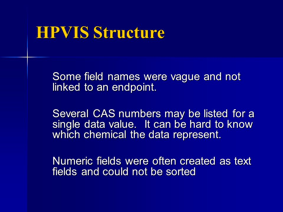 HPVIS Structure Some field names were vague and not linked to an endpoint.