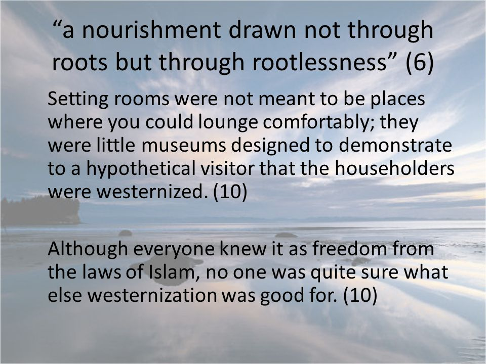 a nourishment drawn not through roots but through rootlessness (6) Setting rooms were not meant to be places where you could lounge comfortably; they were little museums designed to demonstrate to a hypothetical visitor that the householders were westernized.