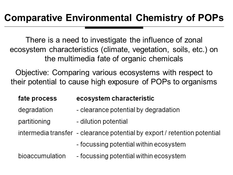 There is a need to investigate the influence of zonal ecosystem characteristics (climate, vegetation, soils, etc.) on the multimedia fate of organic chemicals Objective: Comparing various ecosystems with respect to their potential to cause high exposure of POPs to organisms Comparative Environmental Chemistry of POPs fate processecosystem characteristic degradation - clearance potential by degradation partitioning - dilution potential intermedia transfer- clearance potential by export / retention potential - focussing potential within ecosystem bioaccumulation- focussing potential within ecosystem