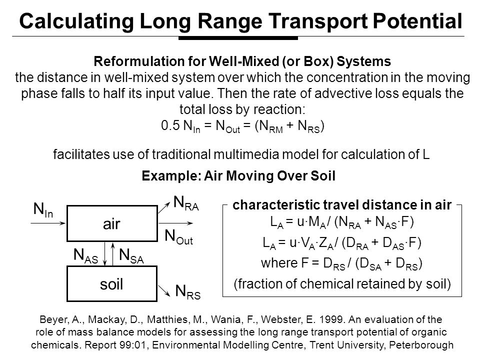 Reformulation for Well-Mixed (or Box) Systems the distance in well-mixed system over which the concentration in the moving phase falls to half its input value.