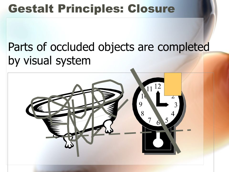 Gestalt Principles: Closure Parts of occluded objects are completed by visual system