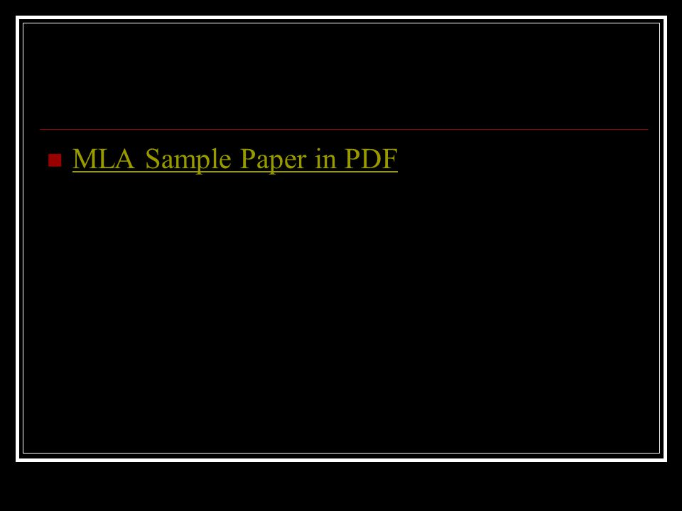 MLA Sample Paper in PDF