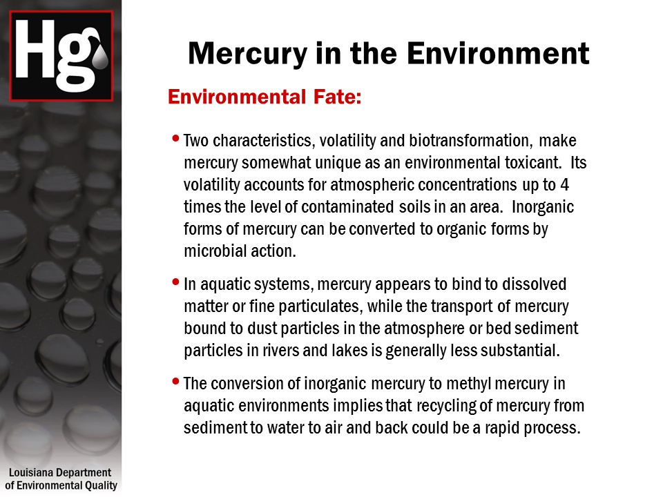 Mercury in the Environment Environmental Fate: Two characteristics, volatility and biotransformation, make mercury somewhat unique as an environmental