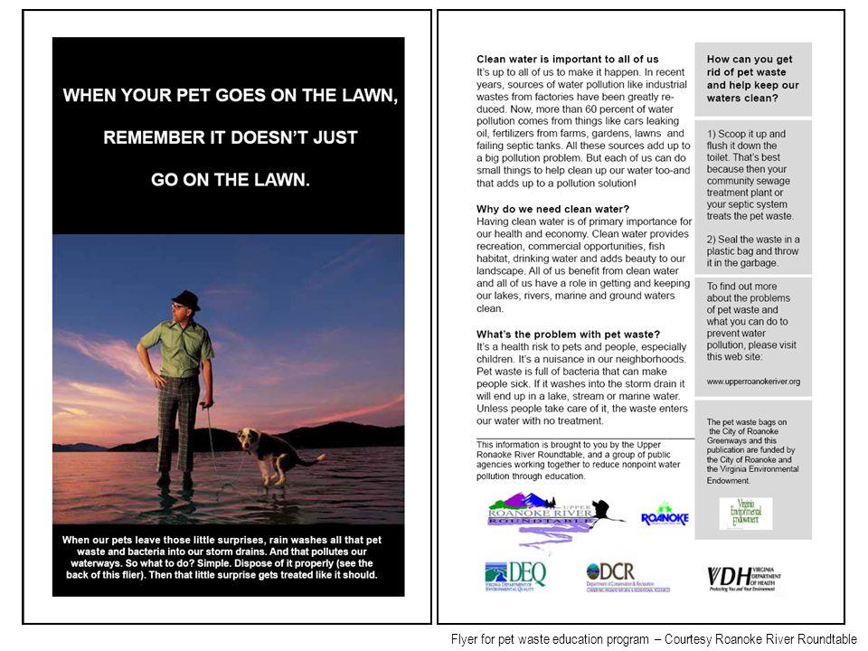 Flyer for pet waste education program – Courtesy Roanoke River Roundtable