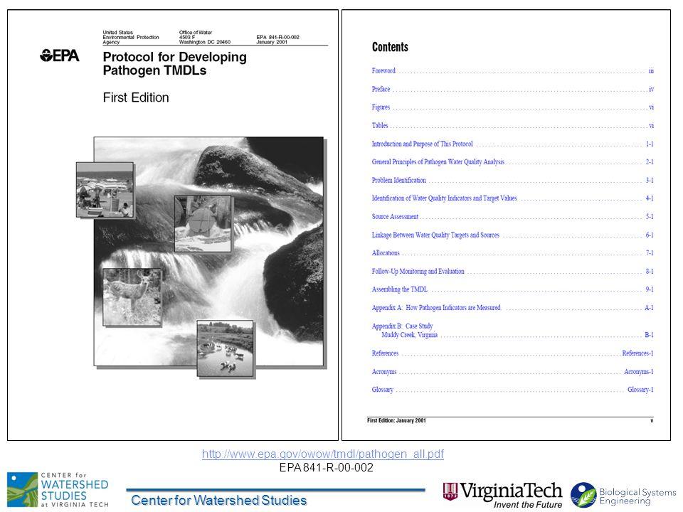 Center for Watershed Studies http://www.epa.gov/owow/tmdl/pathogen_all.pdf EPA 841-R-00-002