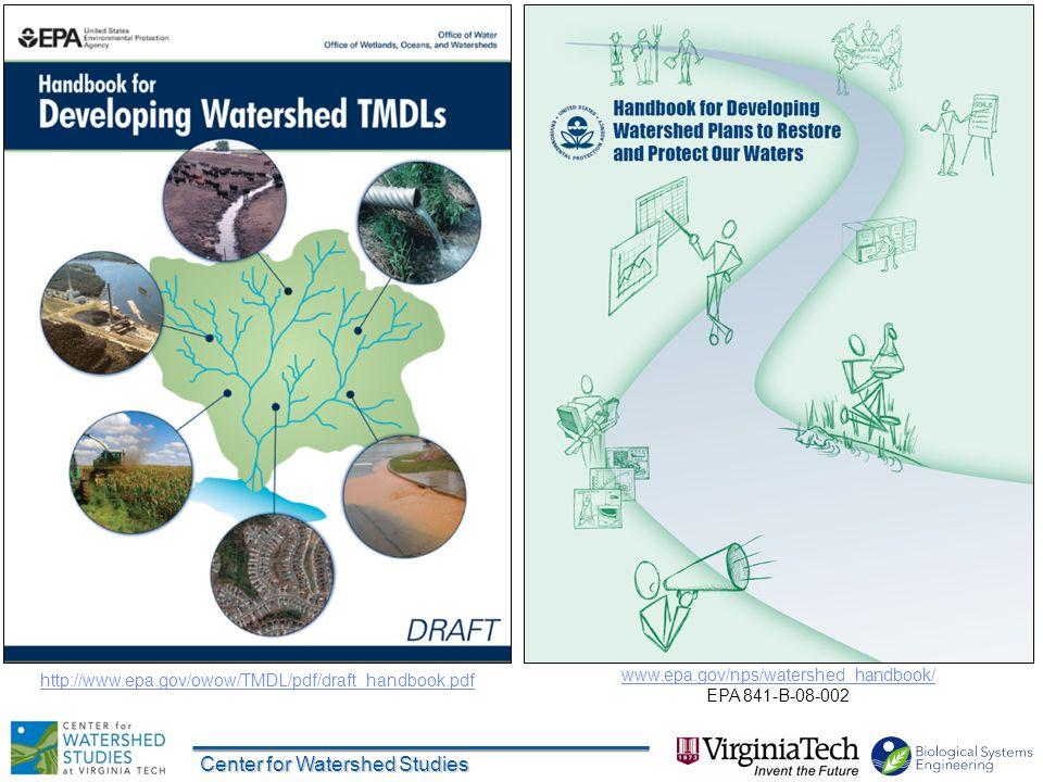 Center for Watershed Studies Good resource 30 www.epa.gov/nps/watershed_handbook/ EPA 841-B-08-002 http://www.epa.gov/owow/TMDL/pdf/draft_handbook.pdf