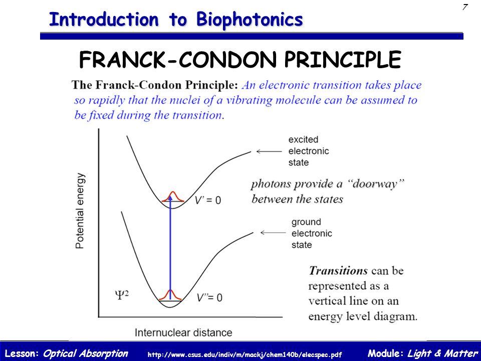 Module: Light & MatterLesson: Optical Absorption 7 Introduction to Biophotonics FRANCK-CONDON PRINCIPLE http://www.csus.edu/indiv/m/mackj/chem140b/elecspec.pdf