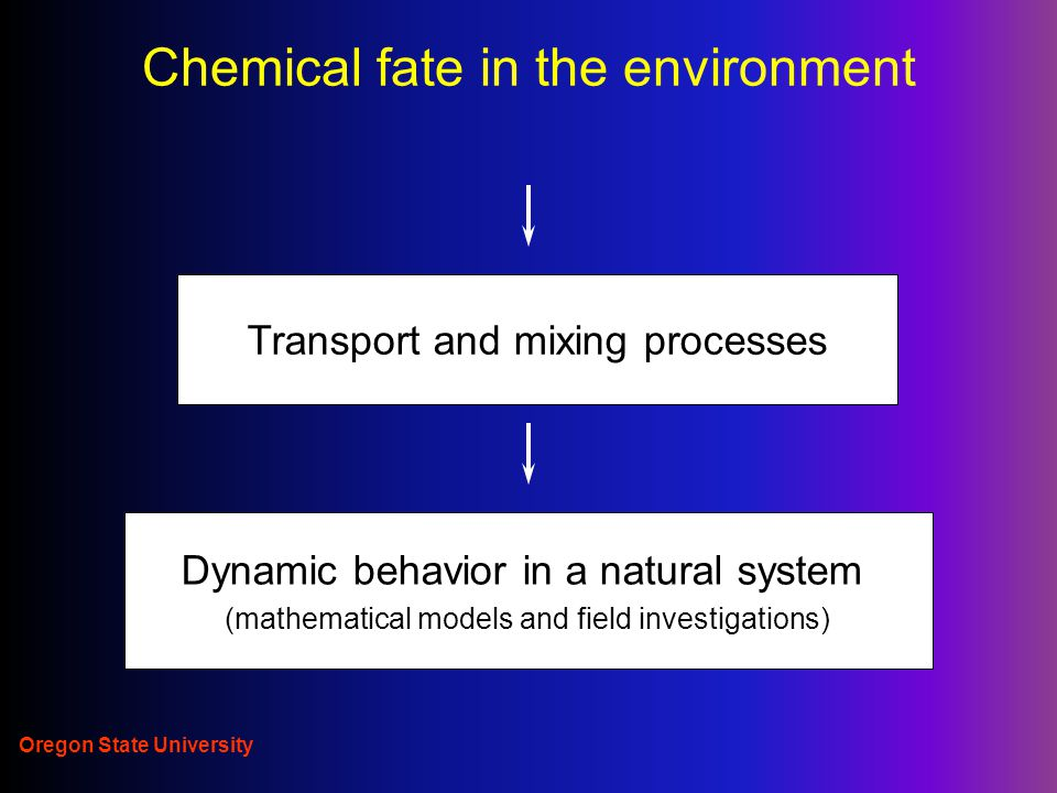 Oregon State University Chemicals in the Environment Initial distribution to environment (manufacture and use): emission in: air-soil-water-biota compartments Transformation: degradation/metabolism Redistribution- transport in and between compartments: diffusion/advection-dispersion/mass transport
