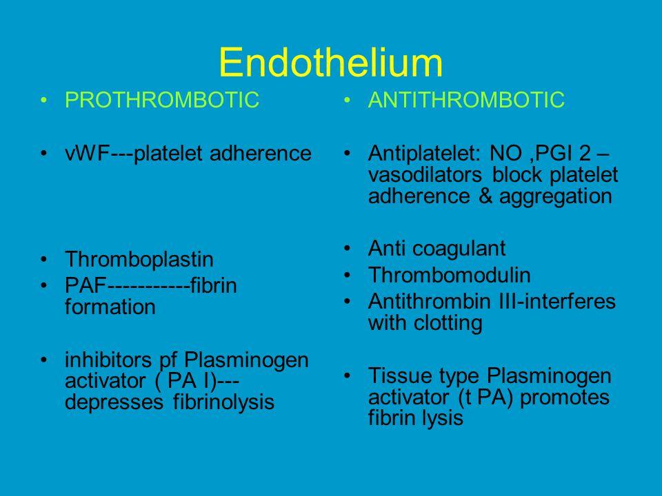 Endothelium PROTHROMBOTIC vWF---platelet adherence Thromboplastin PAF-----------fibrin formation inhibitors pf Plasminogen activator ( PA I)--- depresses fibrinolysis ANTITHROMBOTIC Antiplatelet: NO,PGI 2 – vasodilators block platelet adherence & aggregation Anti coagulant Thrombomodulin Antithrombin III-interferes with clotting Tissue type Plasminogen activator (t PA) promotes fibrin lysis
