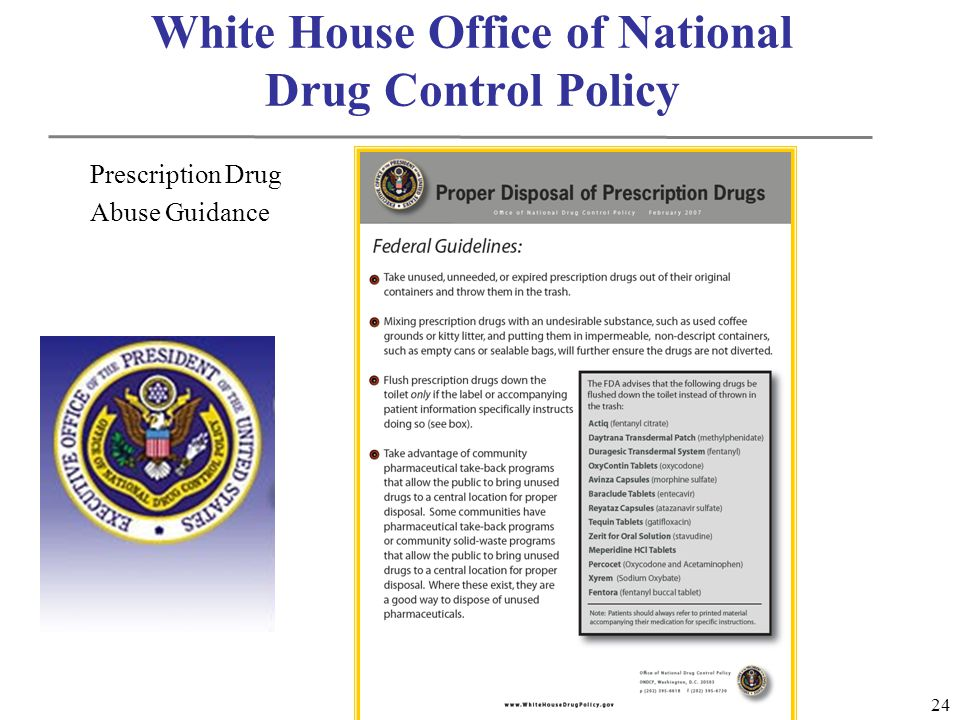 24 White House Office of National Drug Control Policy Prescription Drug Abuse Guidance
