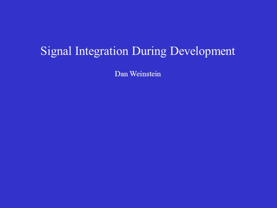 Signal Integration During Development Dan Weinstein