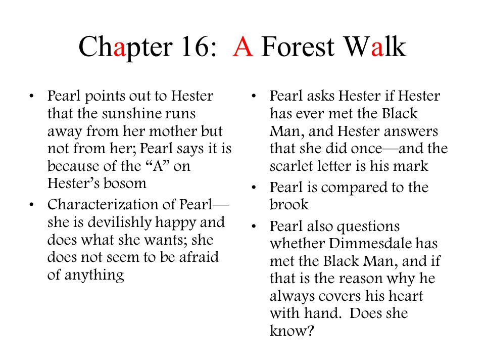 Chapter 17: The Pastor & His Parishioner This is the first time that Hester and Dimmesdale have been alone in seven or more years.