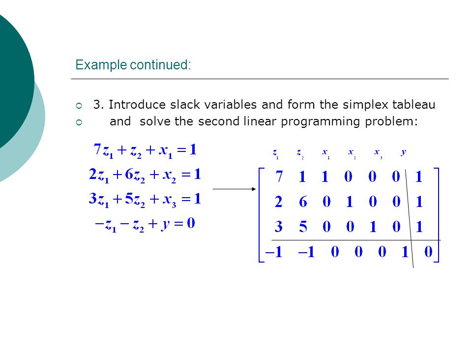 Example continued:  3. Introduce slack variables and form the simplex tableau  and solve the second linear programming problem: