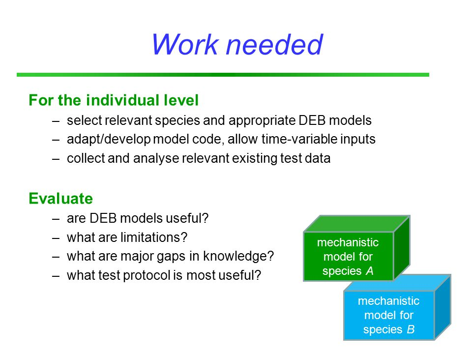 mechanistic model for species B Work needed For the individual level –select relevant species and appropriate DEB models –adapt/develop model code, allow time-variable inputs –collect and analyse relevant existing test data Evaluate –are DEB models useful.